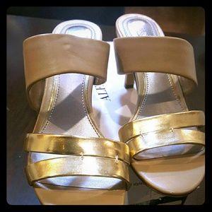 Beige & gold Heels